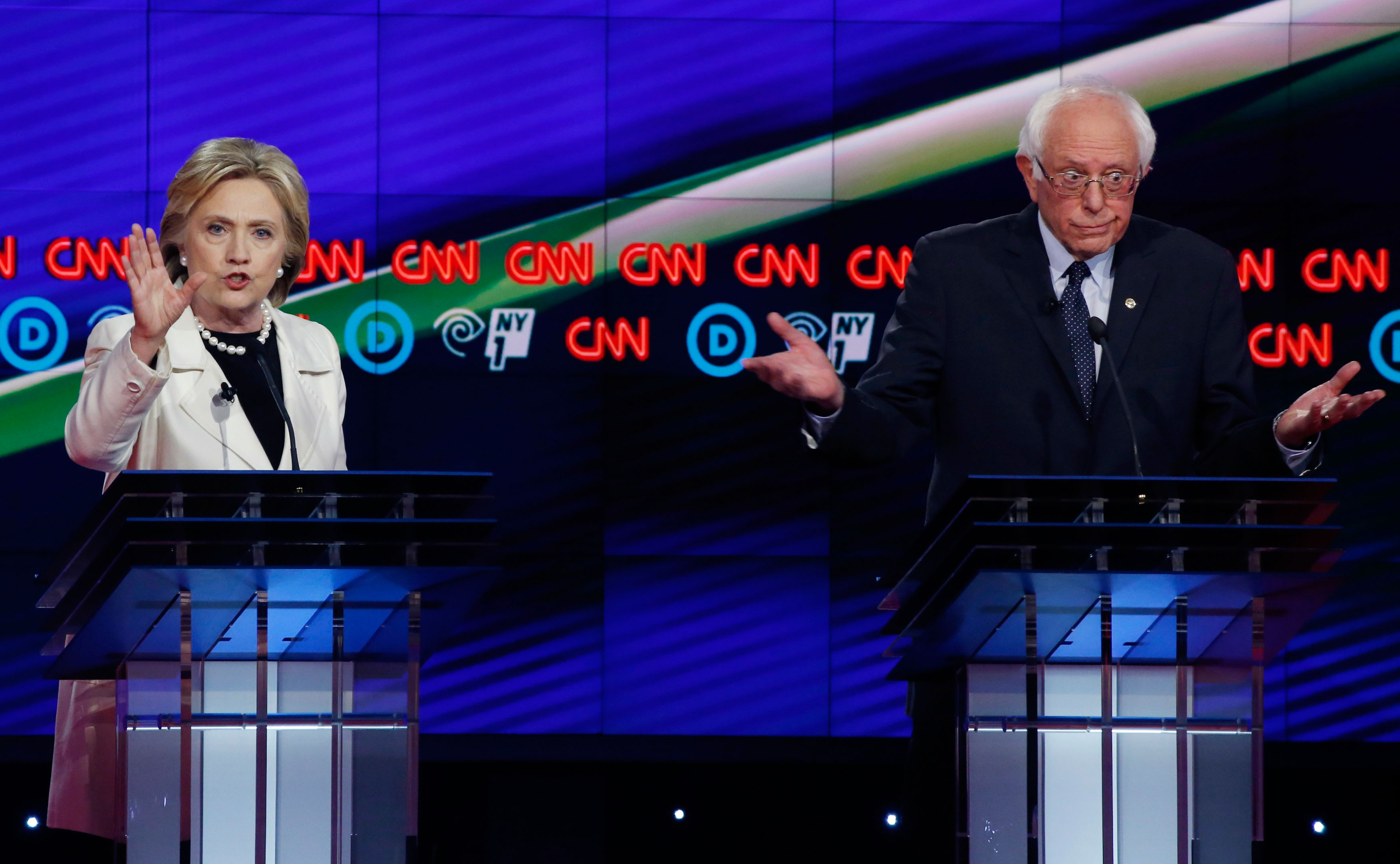 Hillary Clinton and Senator Bernie Sanders during a debate at the Brooklyn Navy Yard, New York, April 14, 2016