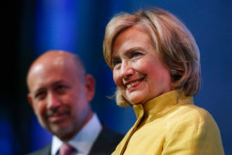 Hillary Clinton and Goldman Sachs Chairman and CEO Lloyd Blankfein at the Clinton Global Initiative (CGI), New York, September 24, 2014