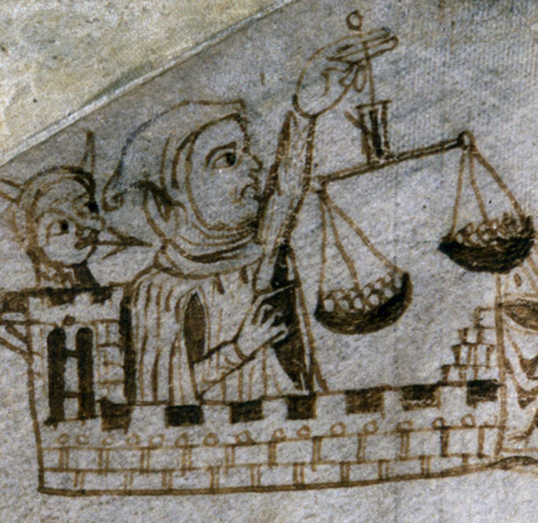 Exchequer Receipt Roll (detail), unidentified hooded figure, 1233