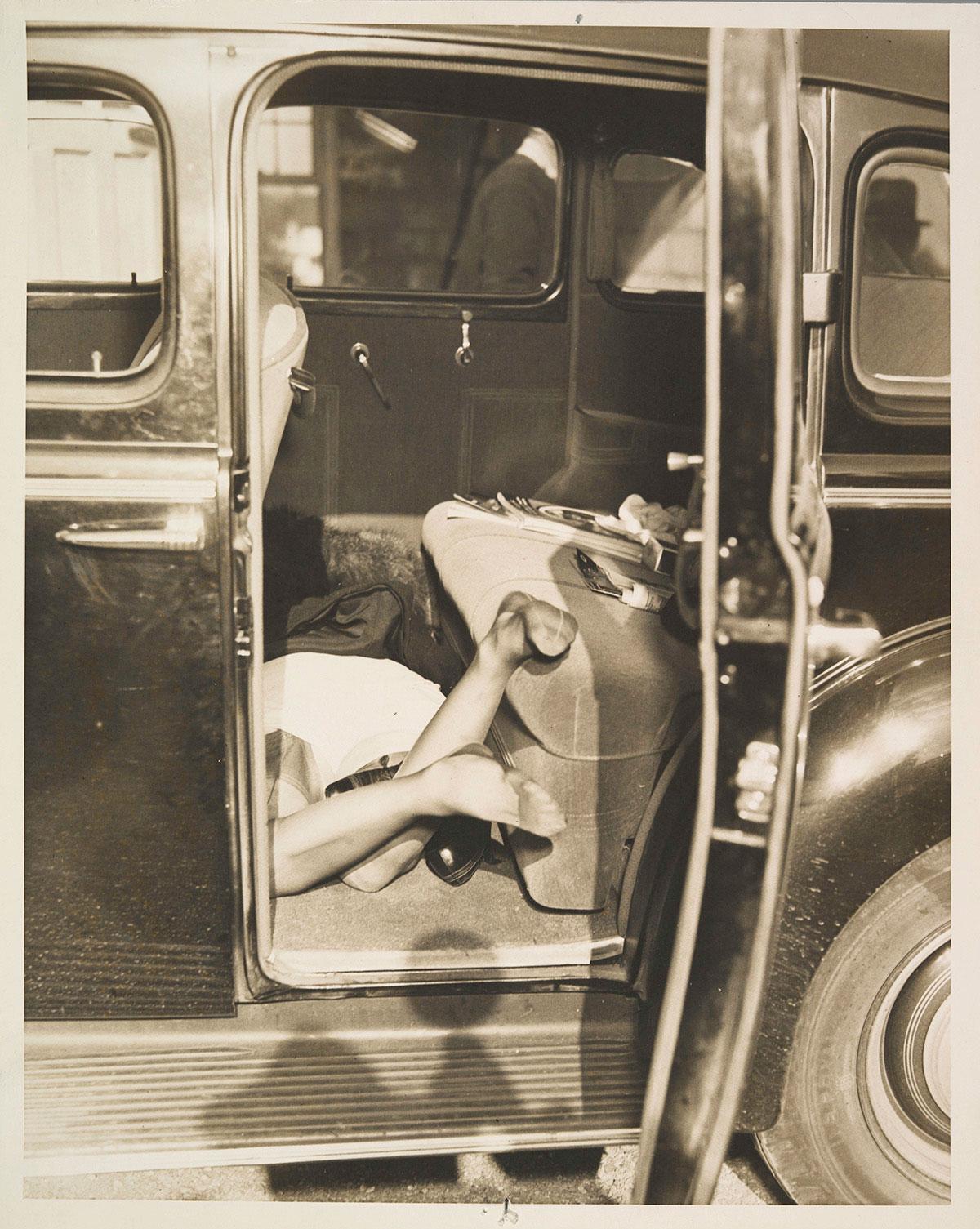 Automobile murder scene, circa 1935