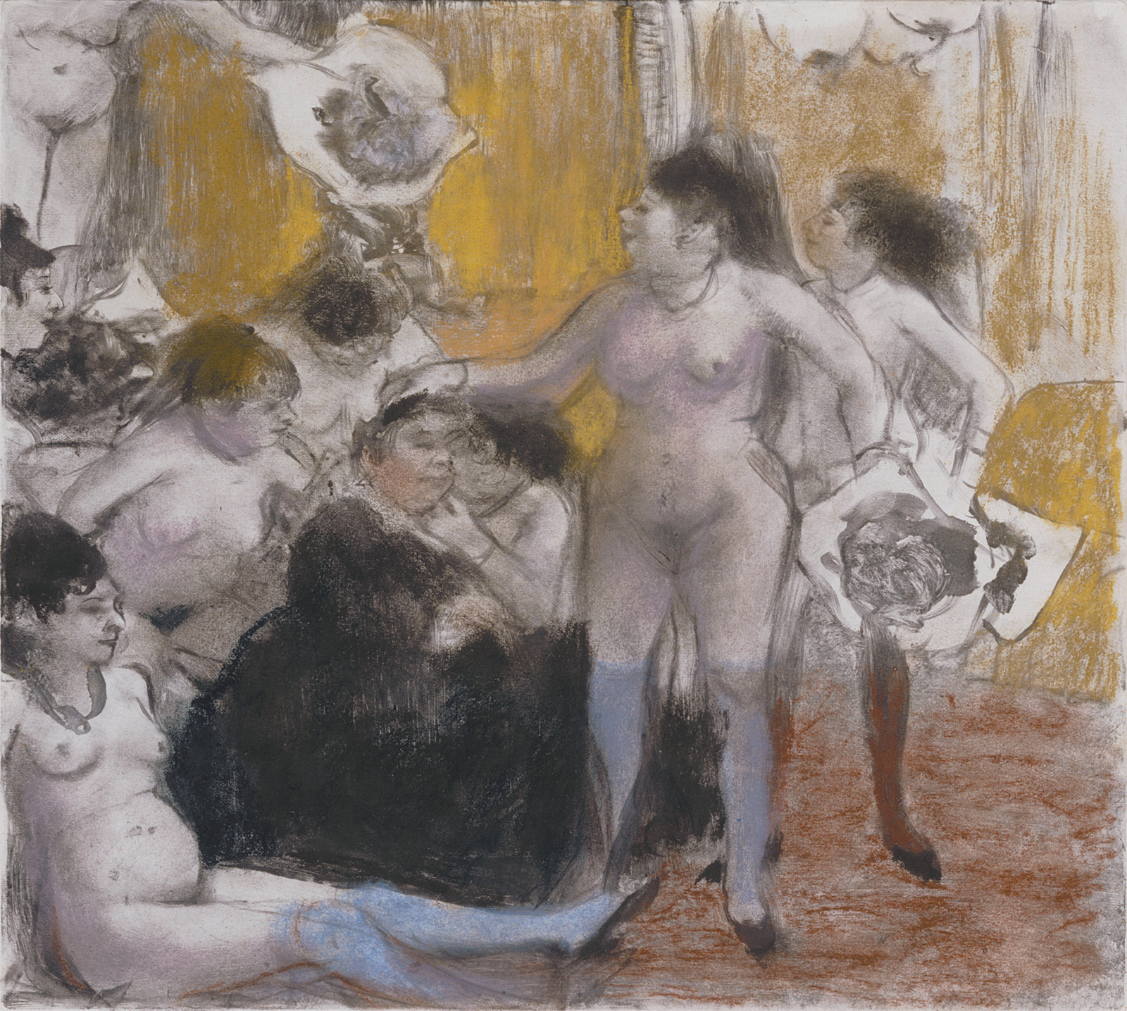 Edgar Degas: The Name Day of the Madam, pastel over monotype on paper, circa 1877–1879