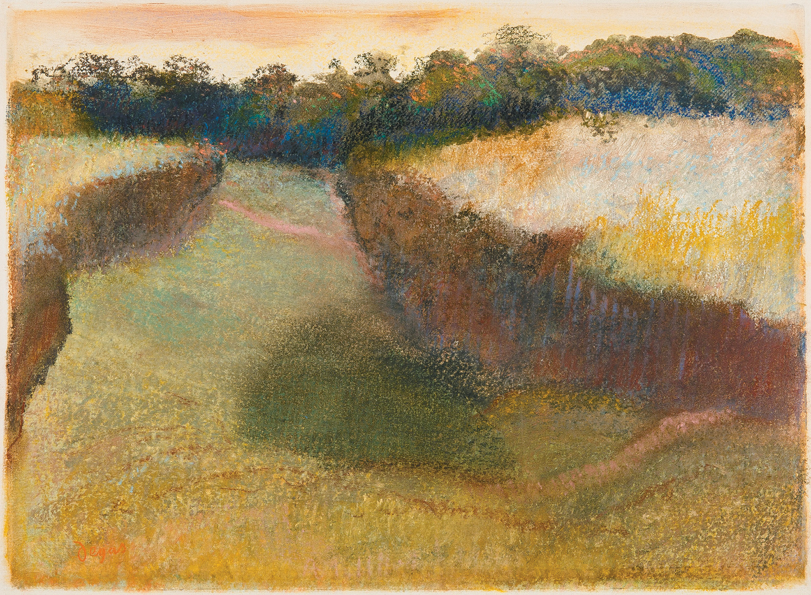 Edgar Degas: Wheatfield and Line of Trees, pastel over monotype in oil on paper, 1890