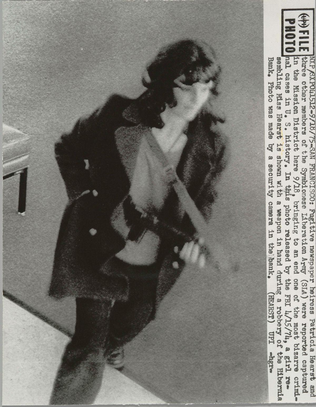 Patricia (Patty) Hearst during the Hibernia Bank robbery, San Francisco, 1974