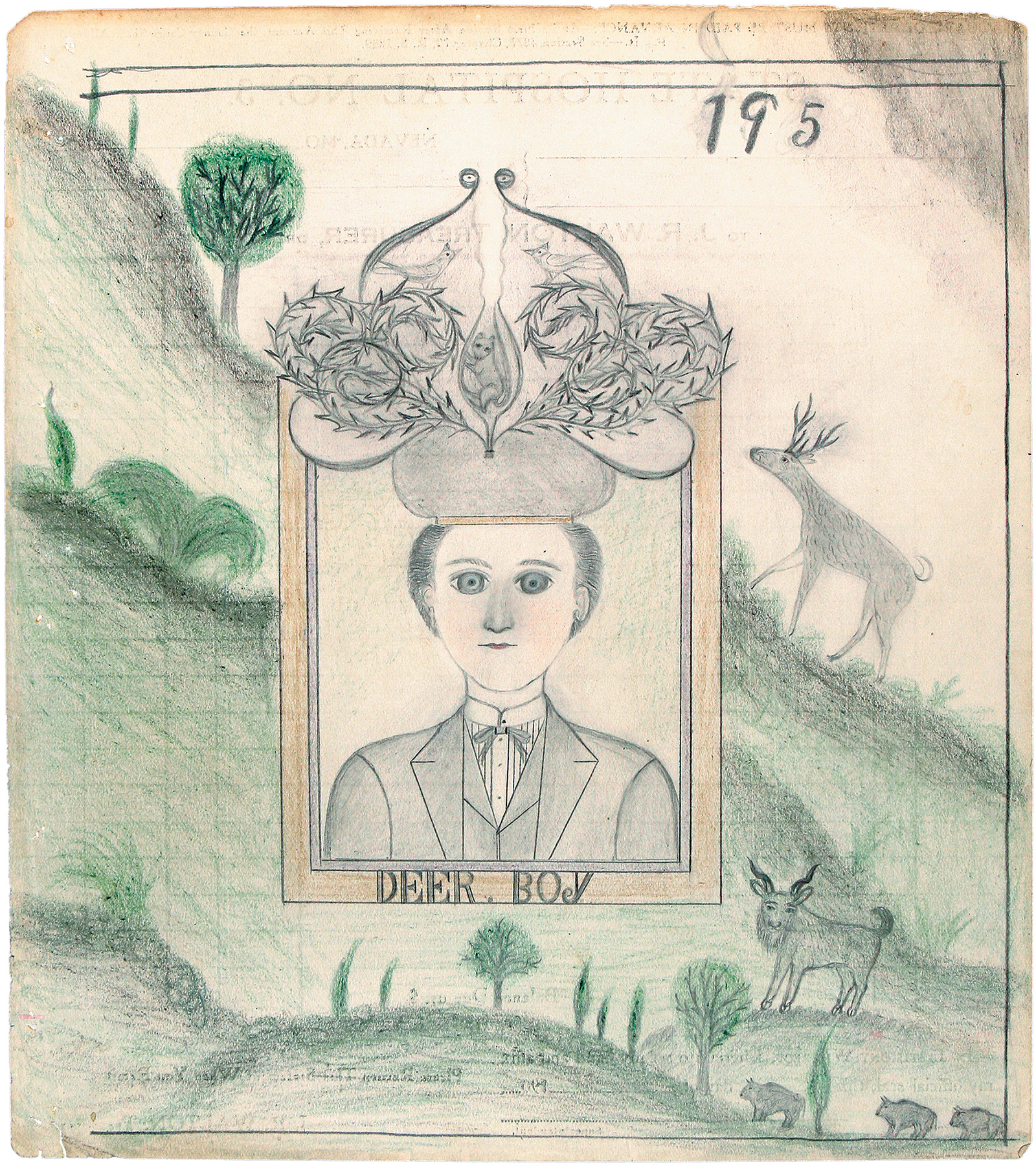 'Deer, Boy'; drawing by James Edward Deeds Jr. from an album of nearly three hundred drawings that he made during his thirty-seven years as an inmate at a psychiatric hospital in Nevada, Missouri, starting in 1936. The drawings are collected in The Electric Pencil: Drawings from Inside State Hospital No. 3, with an introduction by Richard Goodman and a foreword by Harris Diamant, just published by Princeton Architectural Press.
