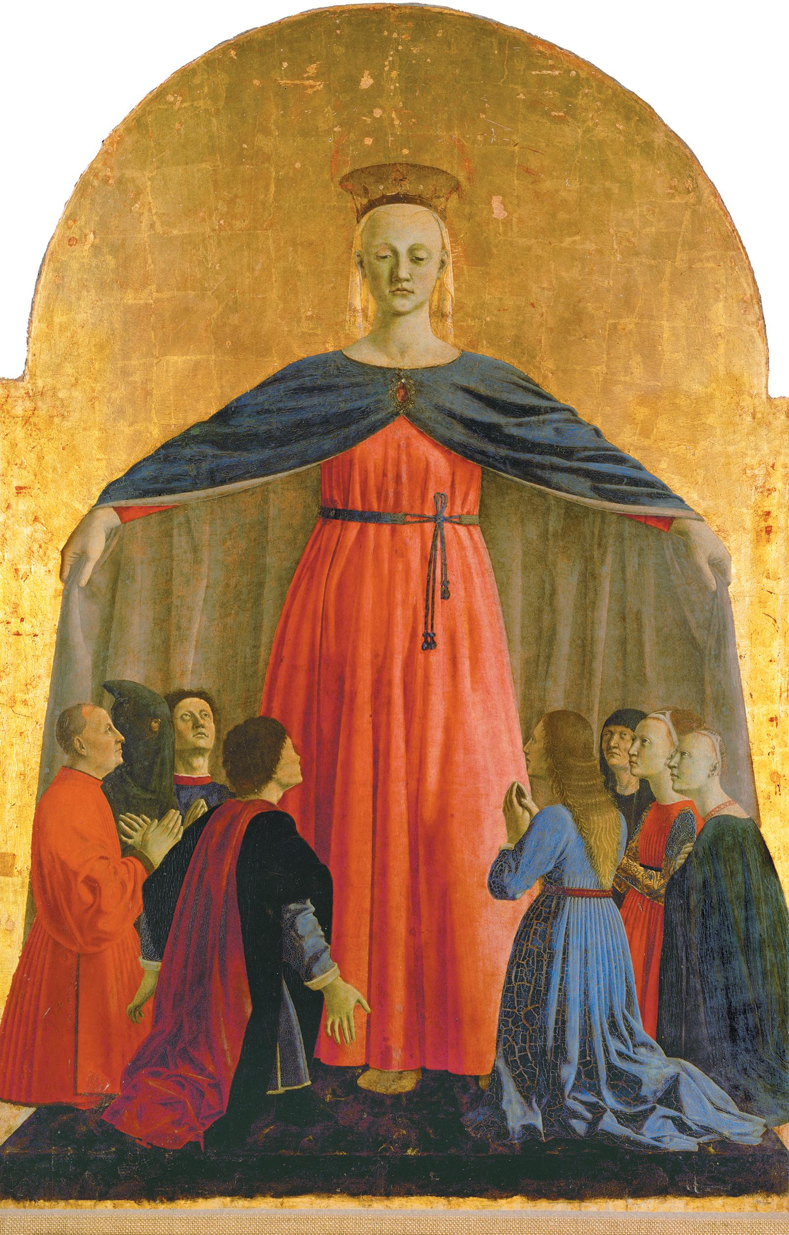 Piero della Francesca: Virgin of Mercy, the center panel of the Misericordia Polyptych, 1445–1462