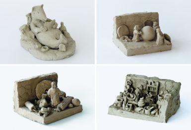 Small clay sculptures from Peter Fischli and David Weiss's series Suddenly This Overview (1981–present), which depict, according to Sanford Schwartz, 'historical events, moments that might have been, and visualizations of age-old sayings and concepts we believe we ought to know,' as well as 'everyday scenes and objects.' Clockwise from top left: Book and Reader, Galileo Galilei Shows Two Monks That the World Is Round, The Alchemist I, and The Dog of the Inventor of the Wheel Feels the Satisfaction of His Master.