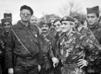 "Serbian ultra-nationalist leader Vojislav Šešelj (left), with paramilitary leader Dragan Vasiljković (""Captain Dragan"") and other Serbian fighters, Croatia, circa 1991"