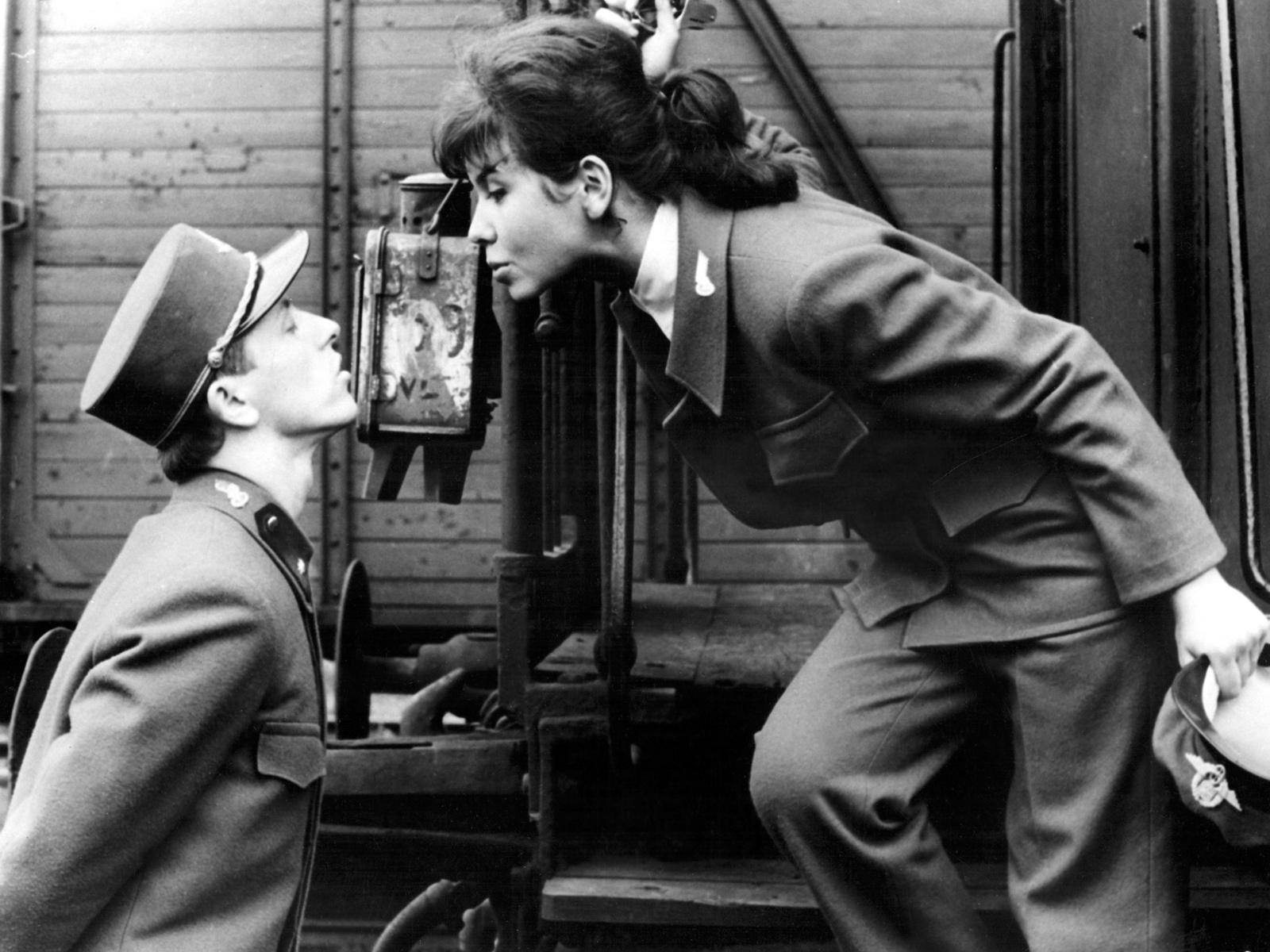 Václav Neckář and Jitka Bendová in Jiří Menzel's film Closely Watched Trains (1966), which is based on a novel by Bohumil Hrabal
