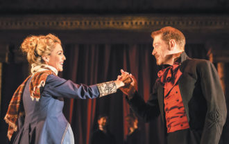 Miranda Raison as Hermione and Kenneth Branagh as Leontes in Branagh's and Rob Ashford's production of The Winter's Tale at the Garrick Theatre, London, 2015
