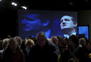 Ted Cruz on video at a campaign event in Davenport, Iowa, January 31, 2016