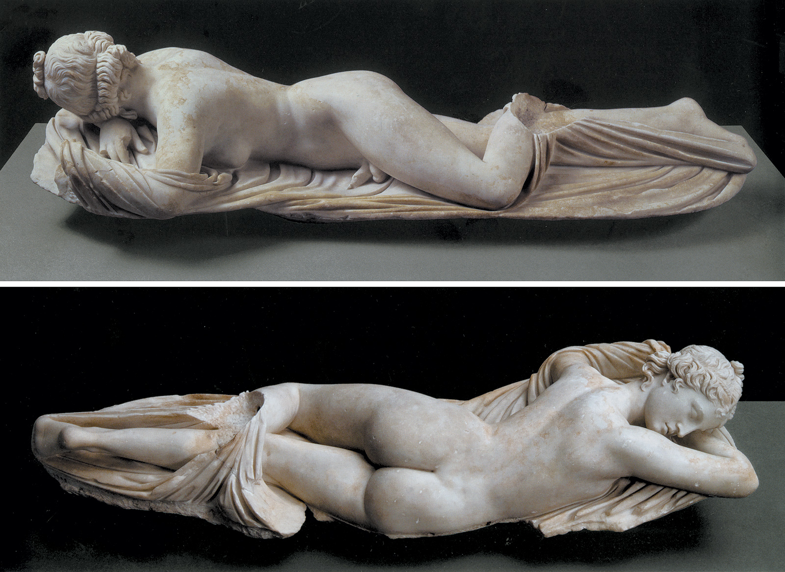 Two views of 'Sleeping Hermaphrodite'; second-century-AD Roman marble copy of a second-century-BC Greek original, on view in the Metropolitan Museum's exhibition 'Pergamon and the Hellenistic Kingdoms of the Ancient World'