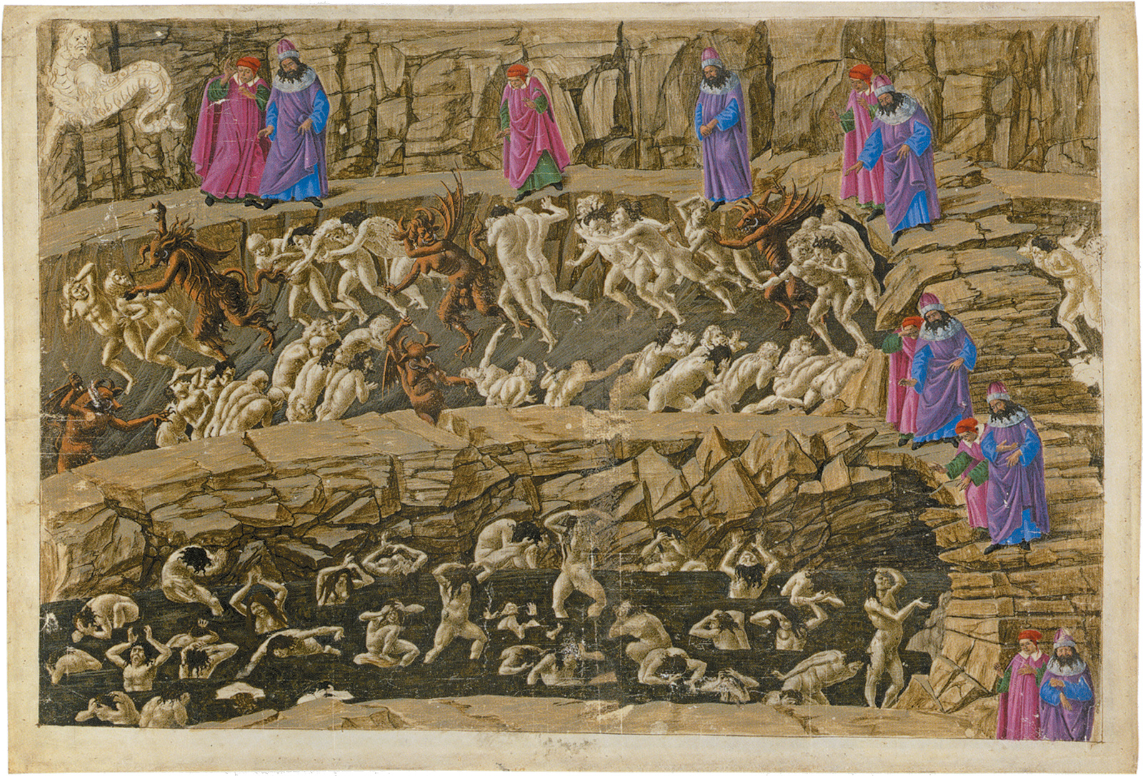 'Inferno XVIII'; Virgil and Dante in the eighth circle of Hell, showing the punishment of panderers, seducers, flatterers, and whores; illustration by Sandro Botticelli, circa 1490