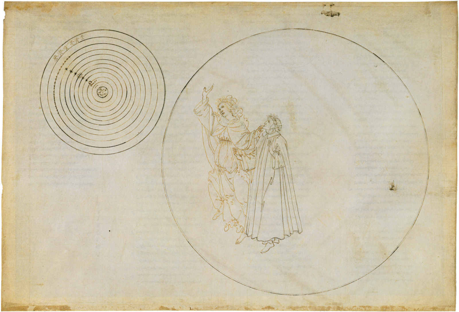 'Paradiso II'; Dante and Beatrice in the sphere of the moon, with Beatrice explaining the nature of the heavens; illustration by Sandro Botticelli, circa 1490