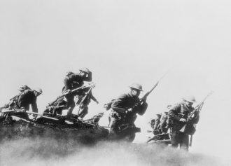 Canadian troops entering combat in World War I