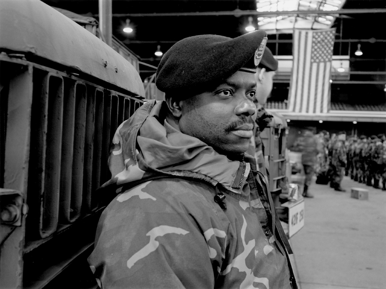 An Army National Guardsman at the armory in Jamaica, Queens, where he and other soldiers were gathered for deployment to Iraq, January 2004; photograph by Thomas Roma from his 2010 book Dear Knights and Dark Horses. It includes an introduction by Alec Wilkinson and is published by powerHouse.