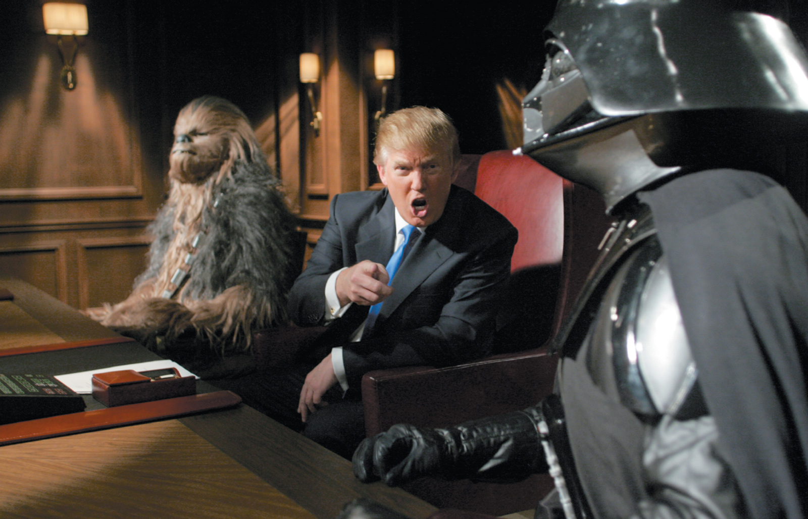 Donald Trump with Chewbacca and Darth Vader in a Star Wars–themed episode of The Apprentice, 2005