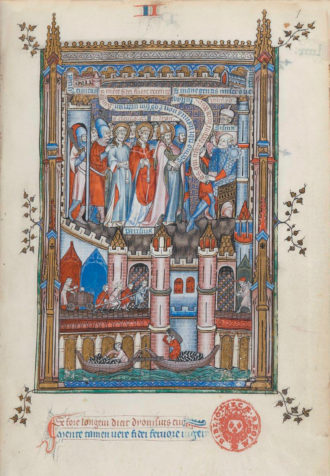 A page from La Vie de Saint Denys, an illuminated manuscript presented by Gilles de Pontoise, abbot of Saint-Denis, to King Philippe V in 1317. 'Below large-scale representations of the saint's preaching, trials, tortures, and death,' Eamon Duffy writes, are 'vivid vignettes of life along the Seine': 'diminutive townspeople shop or borrow from moneylenders, physicians inspect flasks of their patients' urine, animals are driven to slaughter, millers stagger under sacks of corn, workmen trundle wheelbarrows, and boatmen row goods and passengers up and down the river.'