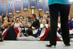 Protesters heckle Hillary Clinton as she speaks, Riverside, California, May 24, 2016