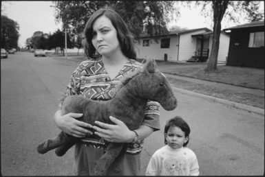'Tiny holding Horsey with Keanna,' Seattle, 1993; photograph by Mary Ellen Mark from the exhibition 'Tiny: Streetwise Revisited,' at the Aperture Foundation, New York City, May 26–June 30. The book includes essays by Isabel Allende and John Irving and is published by Aperture. The film 'Tiny: The Life of Erin Blackwell,' made by Mark and her husband Martin Bell, will be shown at BAMcinemaFest on June 25.