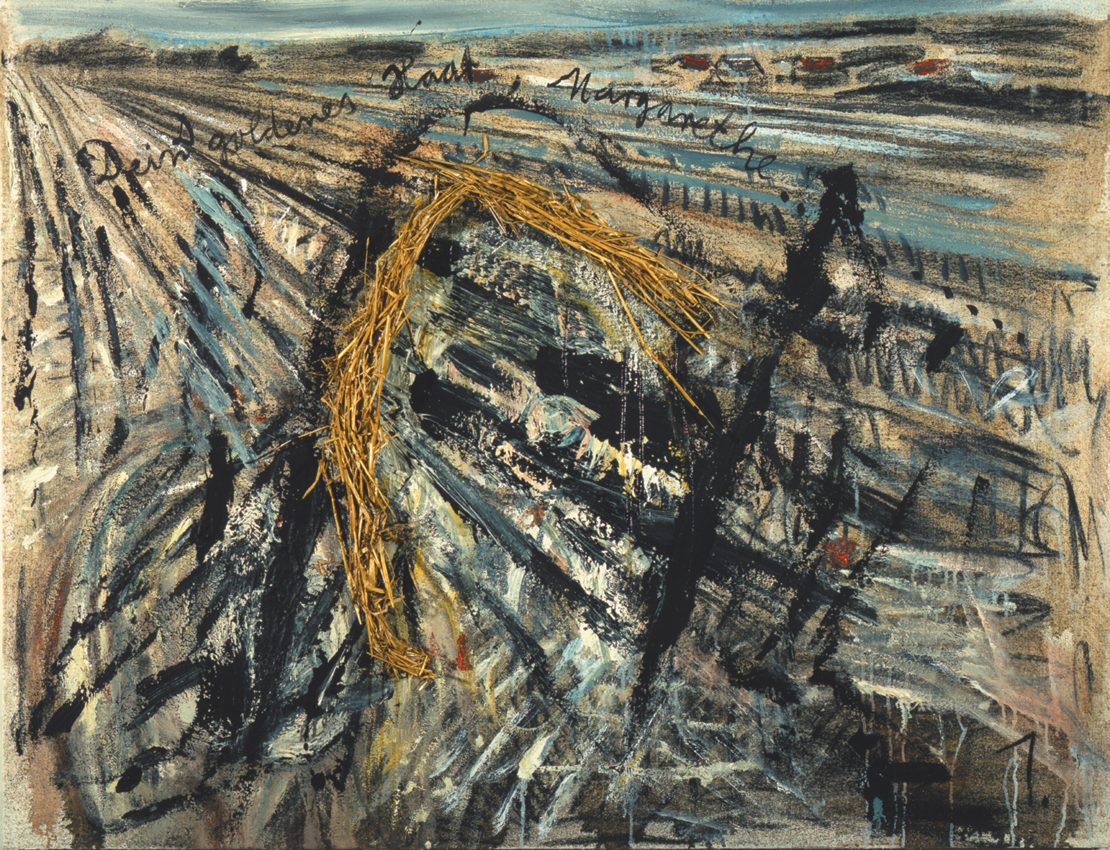 Anselm Kiefer: Your Golden Hair, Margarethe, 1981; from his series of paintings based on Paul Celan's poem 'Todesfuge'