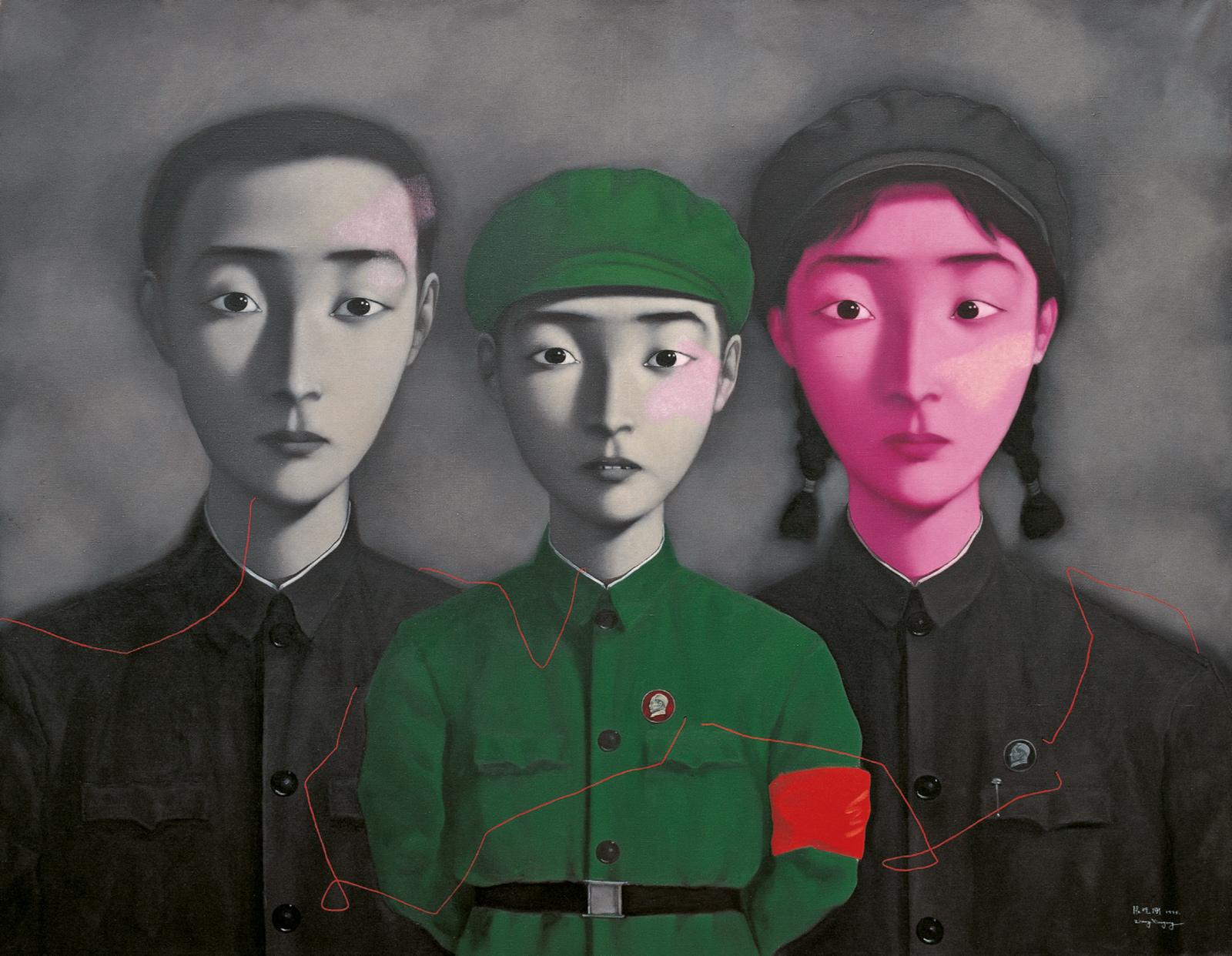 Zhang Xiaogang: Bloodline—Big Family No. 3, 1995; from the book Zhang Xiaogang: Disquieting Memories, by Jonathan Fineberg and Gary G. Xu, published by Phaidon