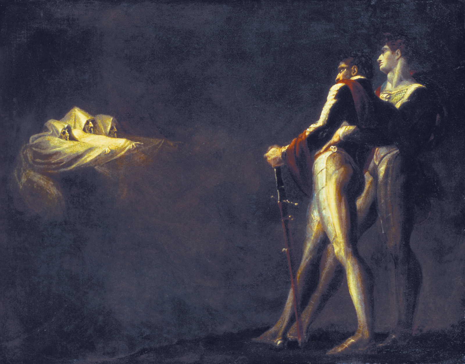 'The Three Witches Appearing to Macbeth and Banquo'; xpainting by Henry Fuseli, circa 1800–1810