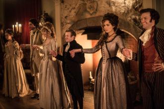 Kate Beckinsale as Lady Susan Vernon and Tom Bennett as Sir James Martin in Whit Stillman's Love & Friendship, 2016