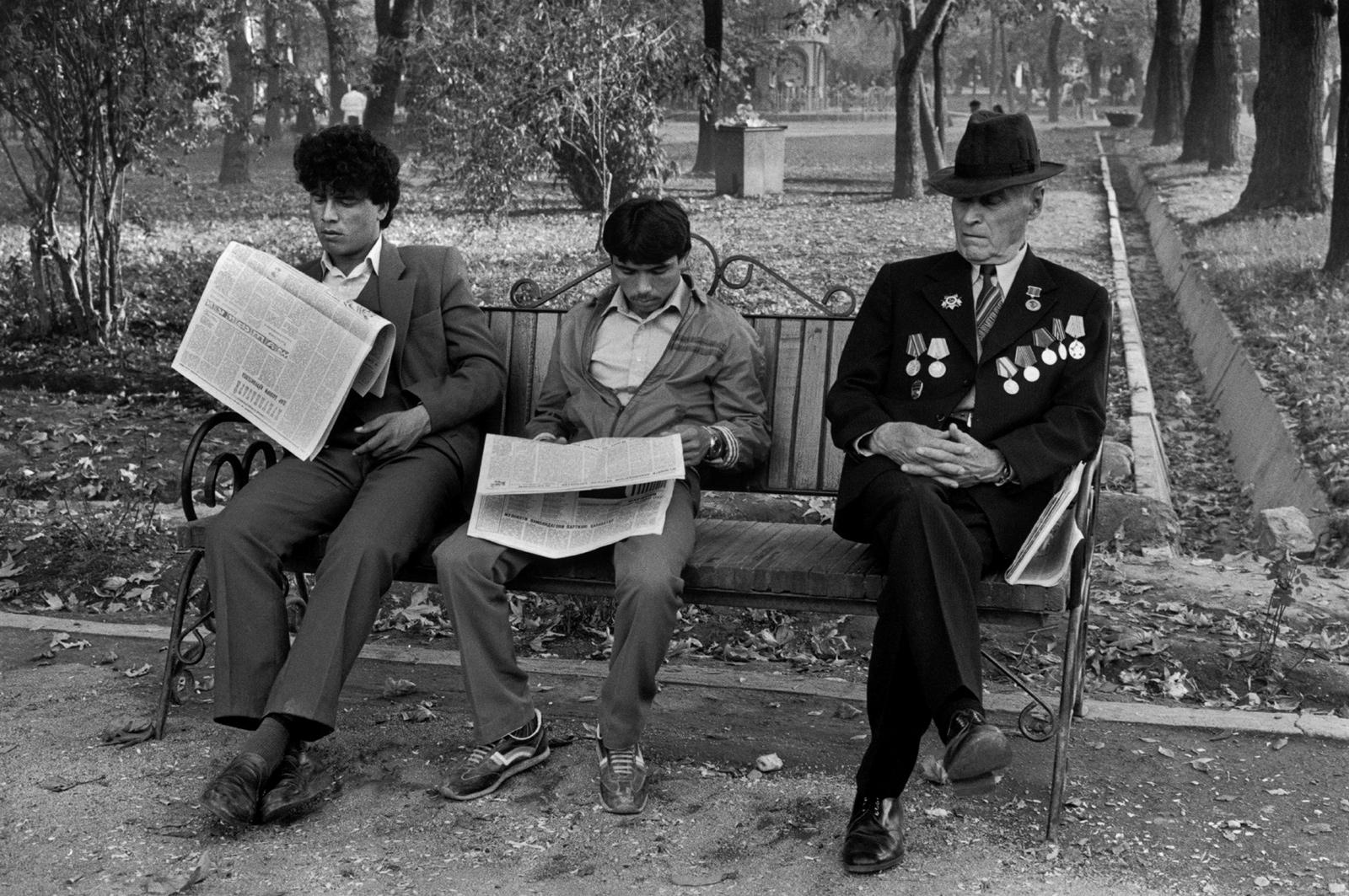 A Russian World War II veteran with two young Tajik men, Dushanbe, Soviet Tajikistan, 1987