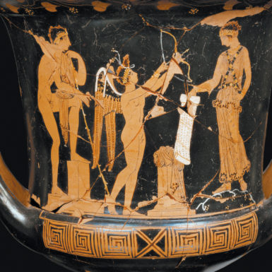 Jason meeting Medea, with Amor between them; detail of a Sicilian red-figure cup, circa 350 BCE