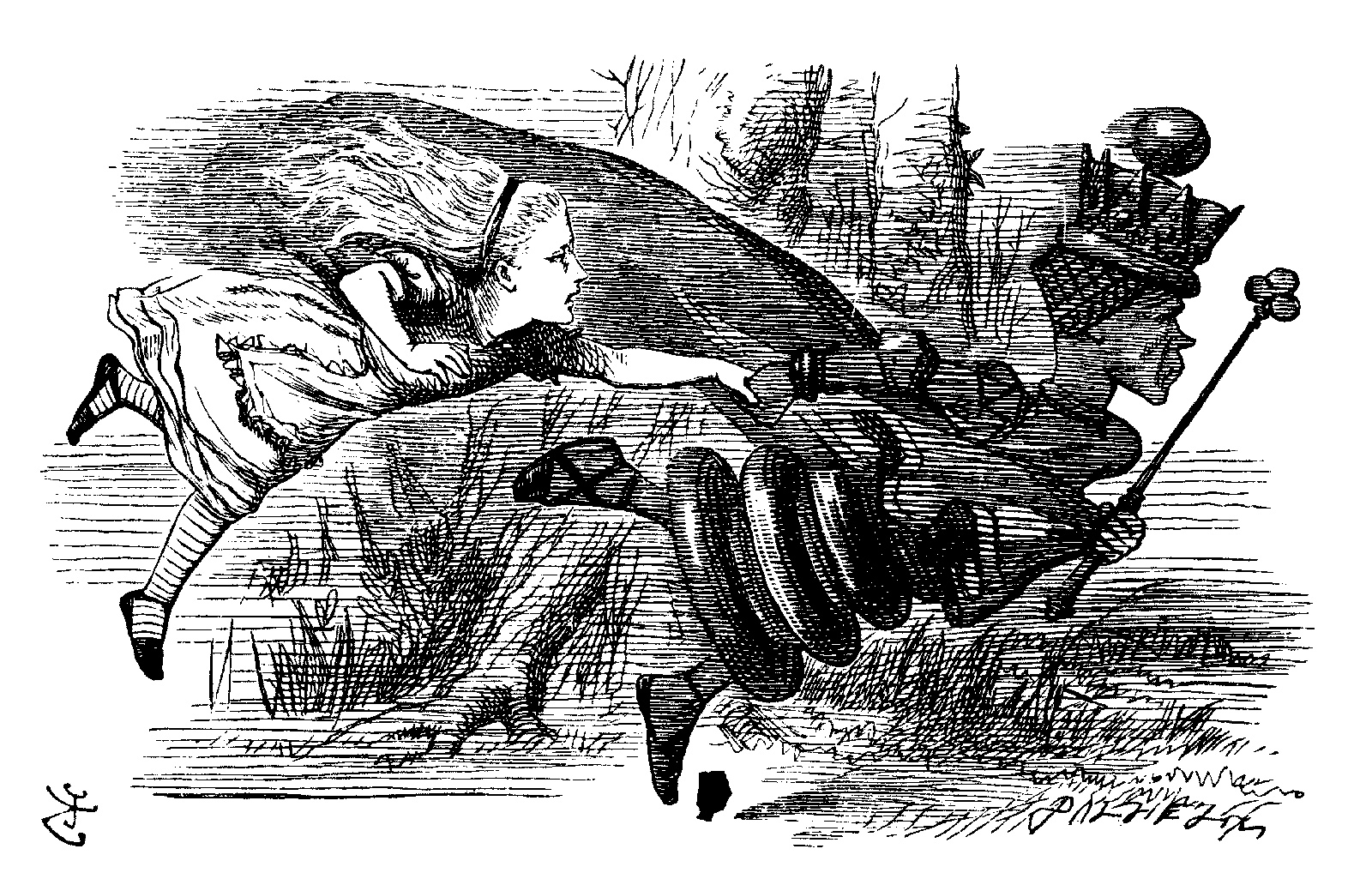 Alice and the Red Queen; illustration by John Tenniel from Lewis Carroll's Through the Looking-Glass, 1872