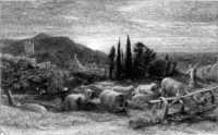 'The Rising Moon, or an English Pastoral'; etching by Samuel Palmer, 1855