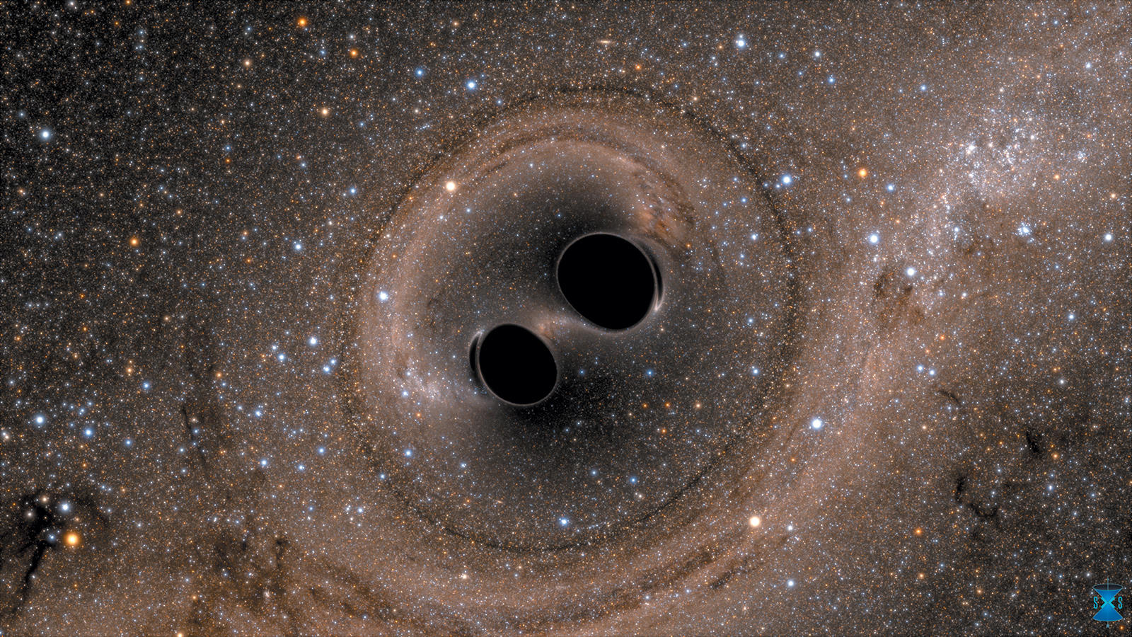 A computer simulation of the collision of two black holes, which merged about 1.3 billion years ago to form a single black hole sixty-two times the mass of the sun. The gravitational waves were detected last September by the Laser Interferometer Gravitational-Wave Observatory (LIGO), which announced the discovery in February 2016.