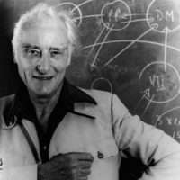 Francis Crick, who discovered the double-helix structure of the DNA molecule with James Watson in 1953, San Diego, California, 1984
