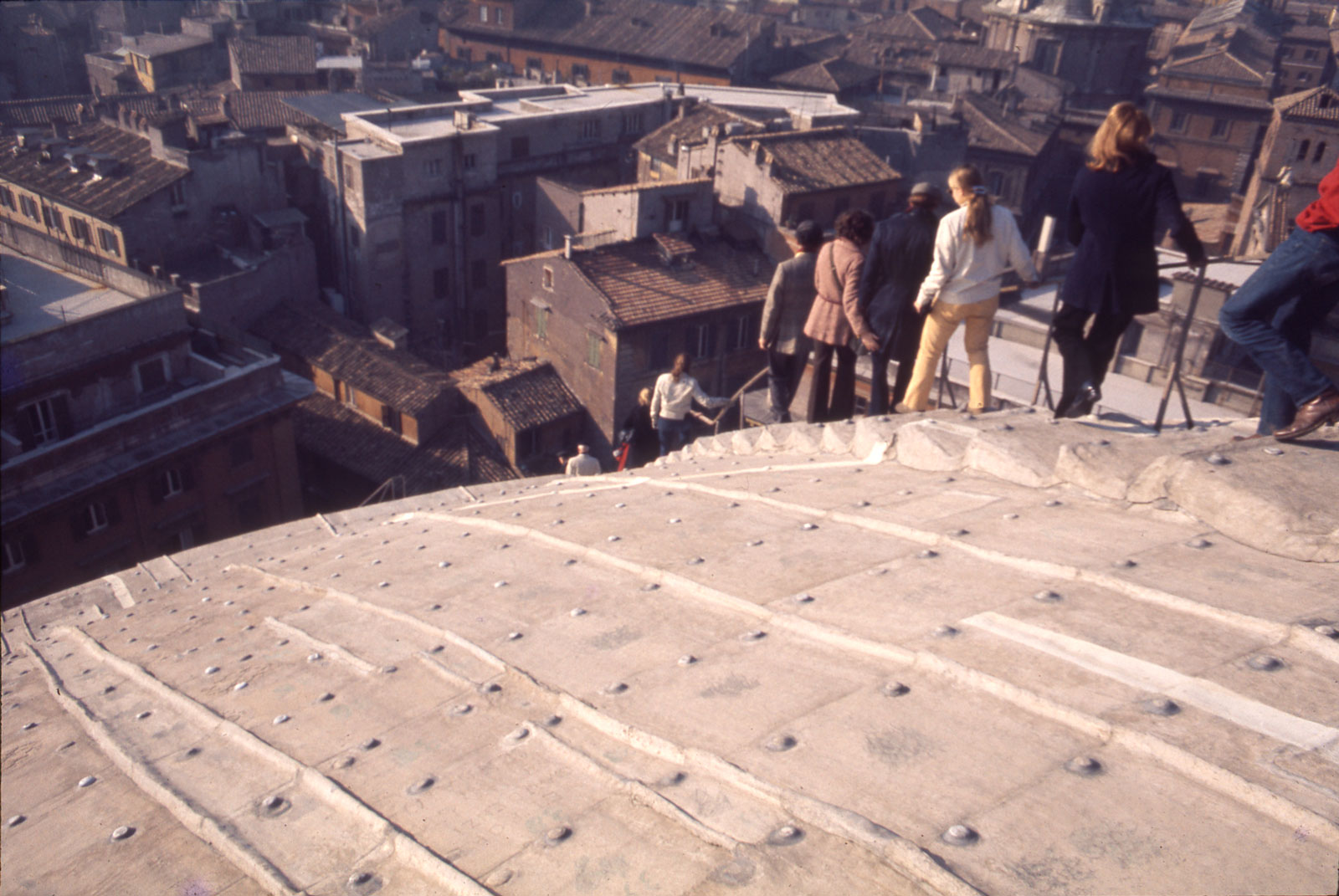 A group from the American Academy in Rome descending the Pantheon's roof, circa 1975