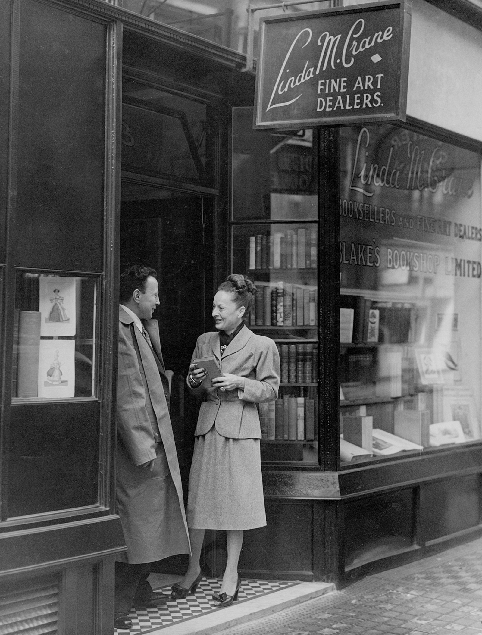 Blanche Knopf at Blake's Bookshop, London, summer 1946