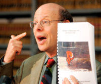 Michael Ratner, President of the Center for Constitutional Rights, with a report on conditions at the Guantánamo Bay, New York, August 4, 2004