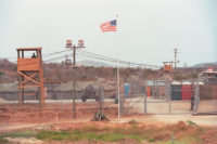 Camp X-Ray, where the US's first prisoners from the war in Afghanistan were held, Guantánamo Bay, Cuba, 2002