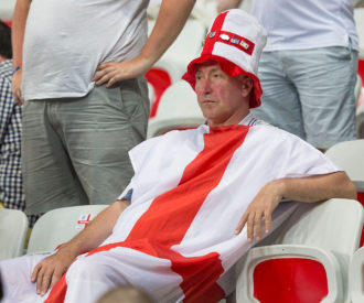 An England fan, following Iceland's elimination of England from the European Football Championship, Nice, France, June 27