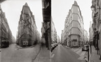 Intersection of rue de Seine and rue de l'Échaudé: circa 1924 by Eugène Atget (left), 1997 by Christopher Rauschenberg (right), from the new paperback edition of Christopher Rauschenberg's