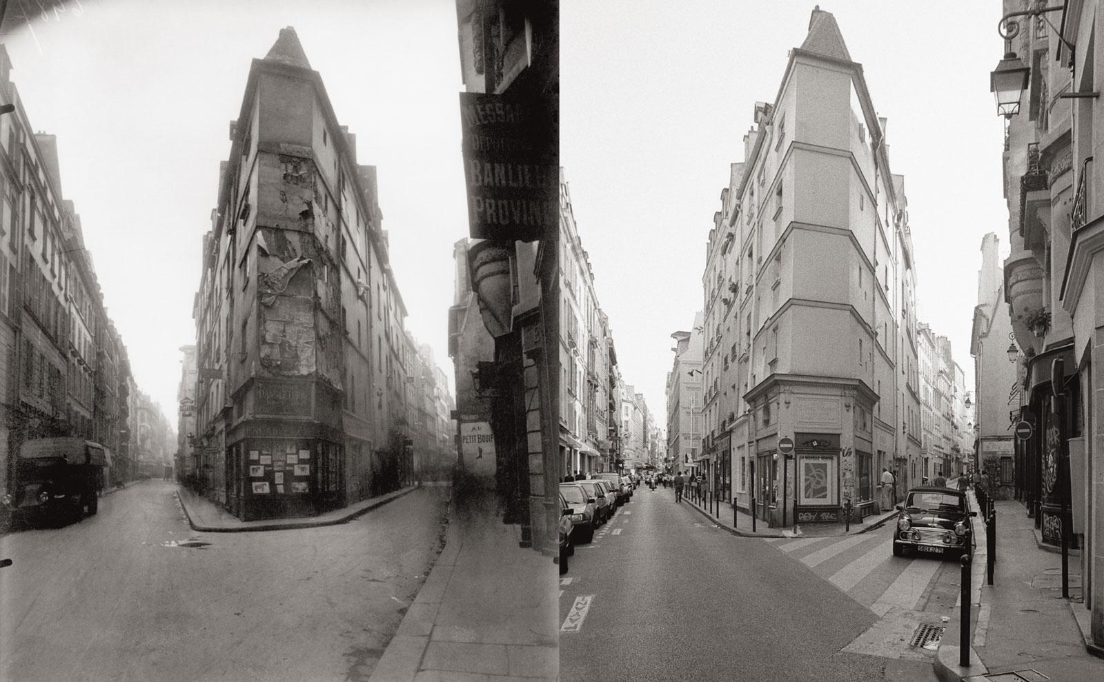Intersection of rue de Seine and rue de l'Échaudé, circa 1924 by Eugène Atget (left), 1997 by Christopher Rauschenberg (right), from the new paperback edition of Christopher Rauschenberg's <em>Paris Changing: Revisiting Eugène Atget's Paris</em>, 2016