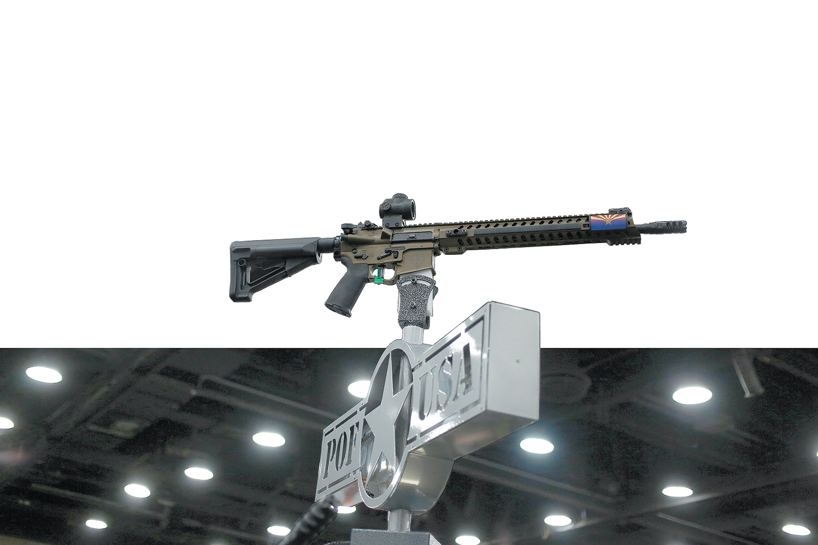An AR-15 rifle, an assault weapon similar to the one used by Omar Mateen in the June 12 shooting in Orlando, on display at the National Rifle Association's annual meeting, Louisville, Kentucky, May 20, 2016