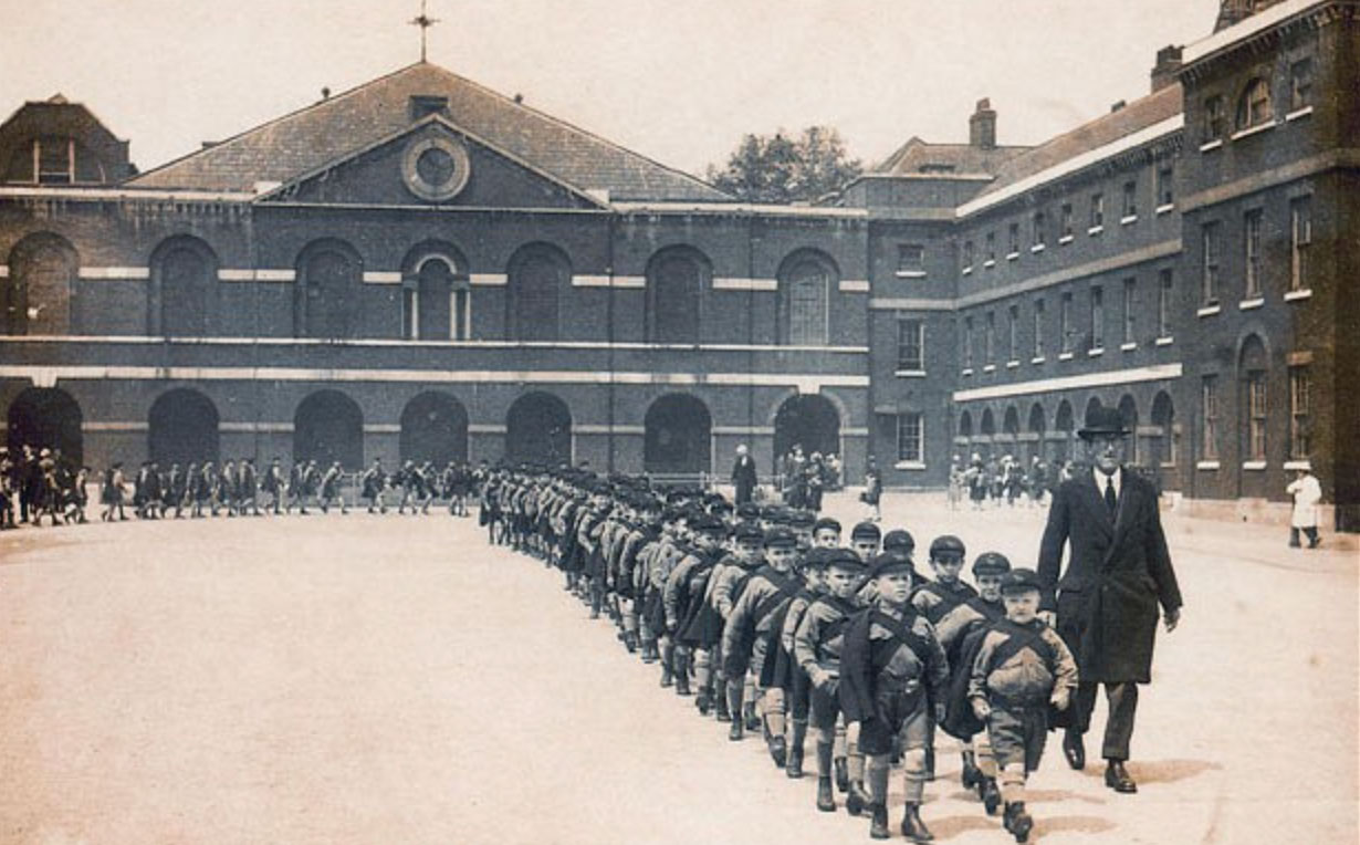 Orphan boys marching out of the Foundling Hospital for the last time, 1926