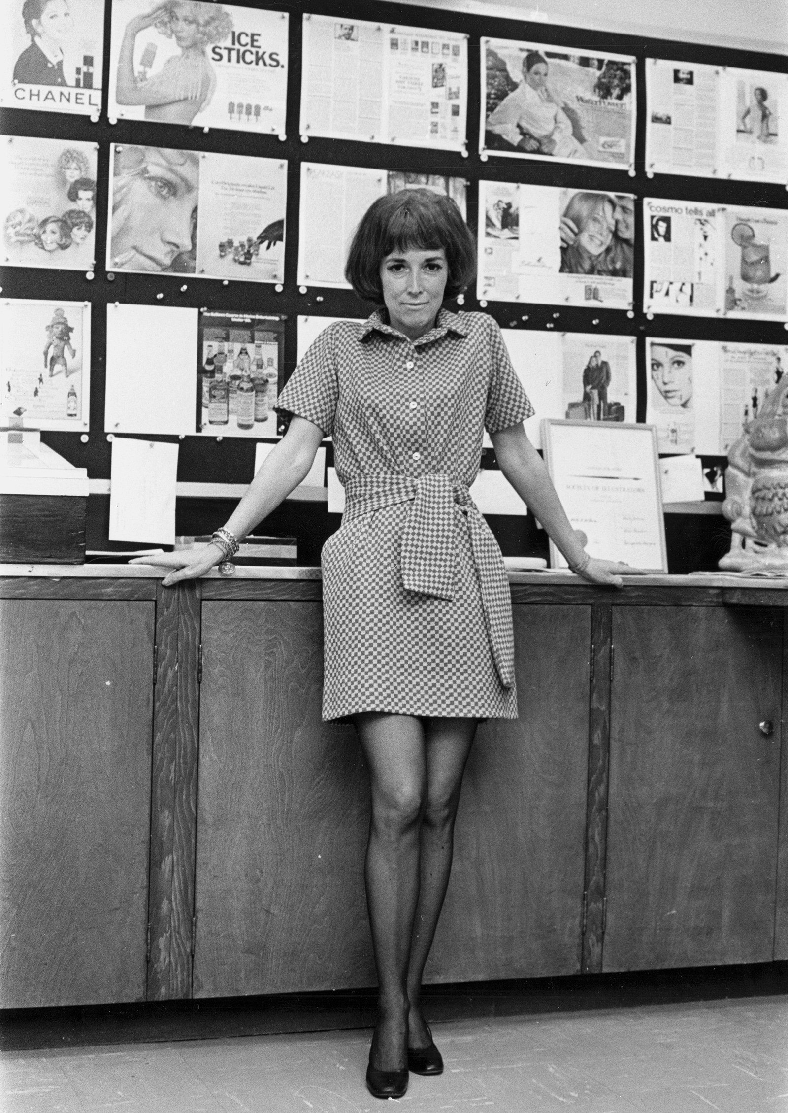 Helen Gurley Brown in the art department of Cosmopolitan shortly after becoming editor in chief, New York City, March 1965