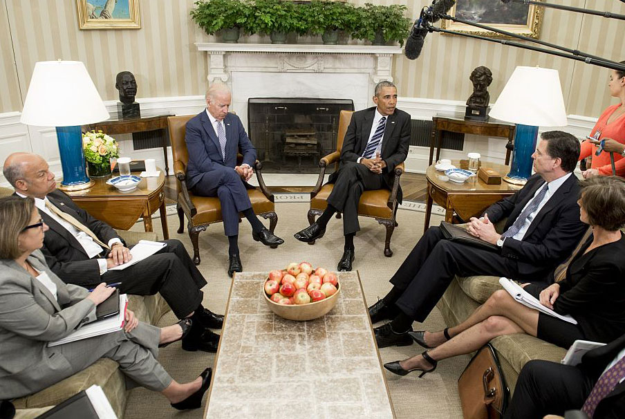 President Barack Obama speaking with top officials about the mass shooting in Orlando, Florida, Washington, DC, June 13, 2016