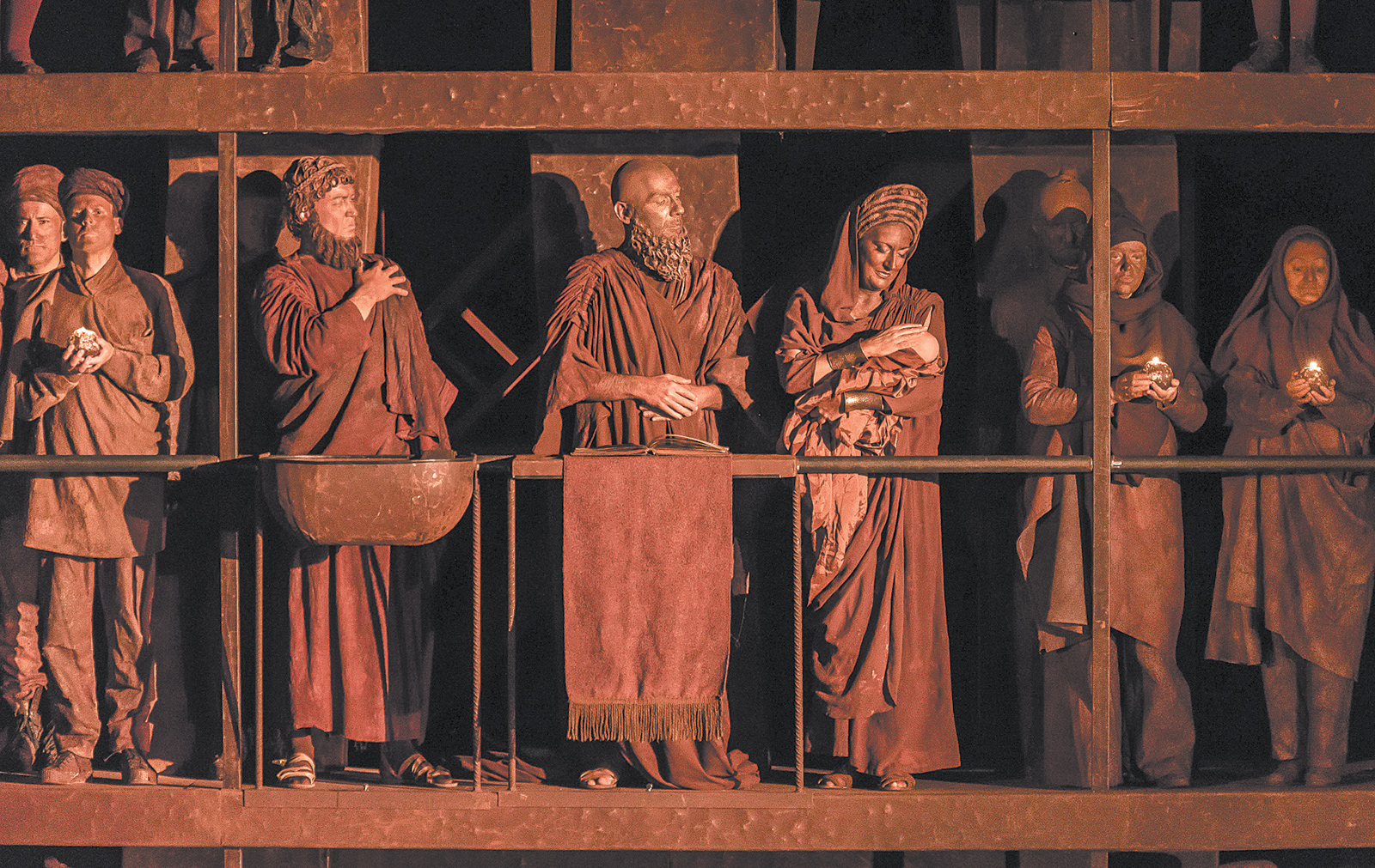 Hubert Francis as Laïos, Nicolas Courjal as the Theban High Priest, and Sarah Connolly as Jocaste in George Enescu's Oedipe, at the Royal Opera House, London