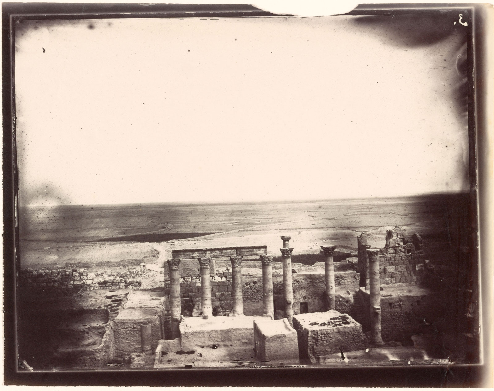 Columns, eastern part of the courtyard, Temple of Bel, Palmyra, photographed by Louis Vines, 1864