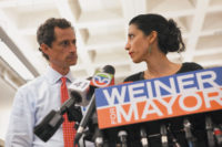 Anthony Weiner and Huma Abedin at the press conference announcing his intention to stay in New York's mayoral race despite new revelations about his explicit text messages to women sent after a similar scandal in 2011 that had forced him to resign from Congress, New York City, July 23, 2013