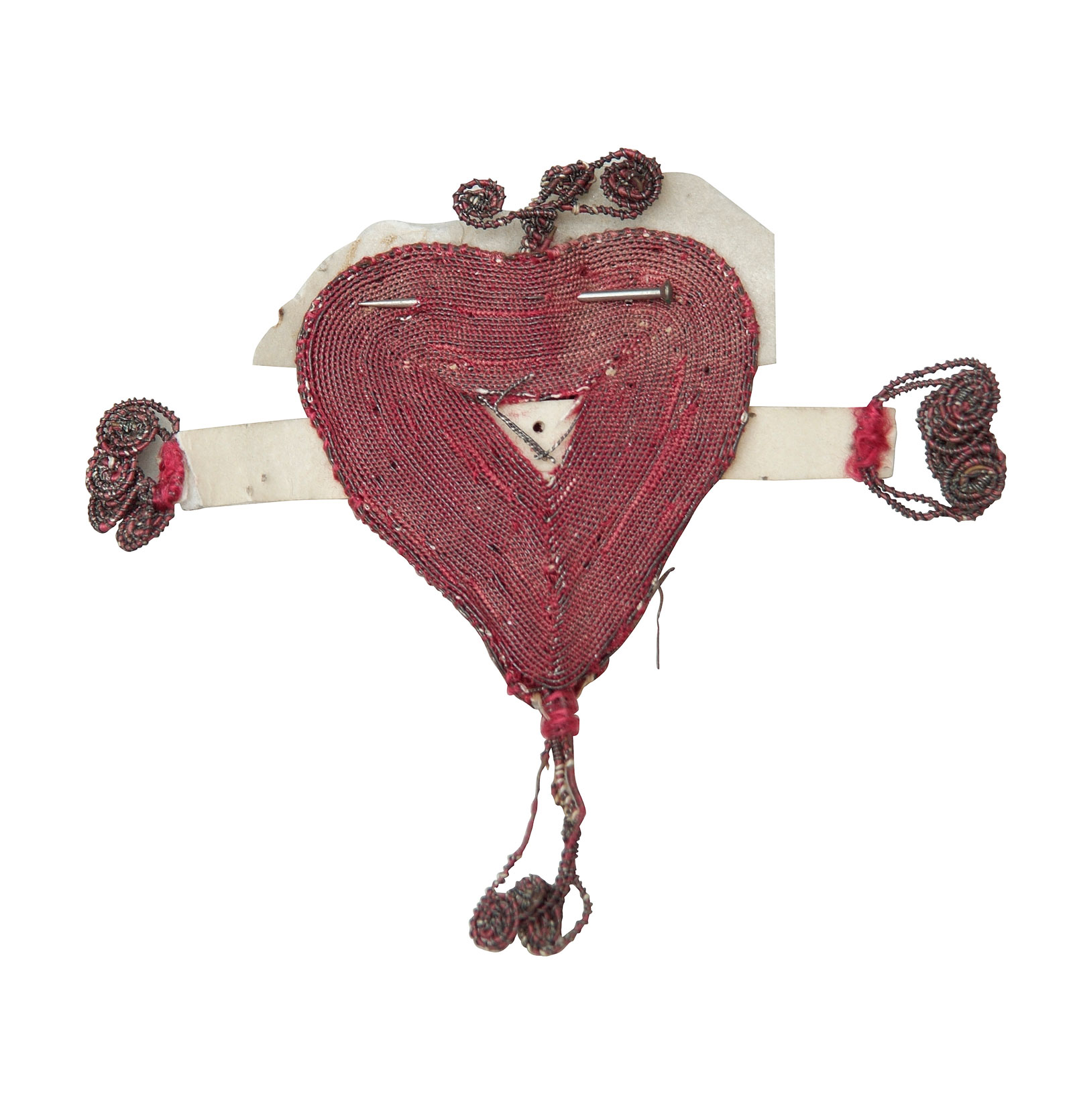Textile heart left with a foundling as a memento, mid-eighteenth century