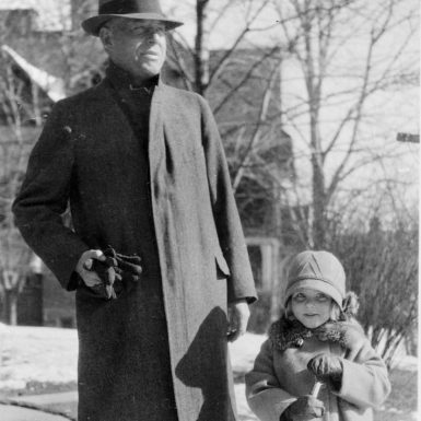 Wallace Stevens with his daughter Holly in front of their apartment in Hartford, Connecticut, 1929