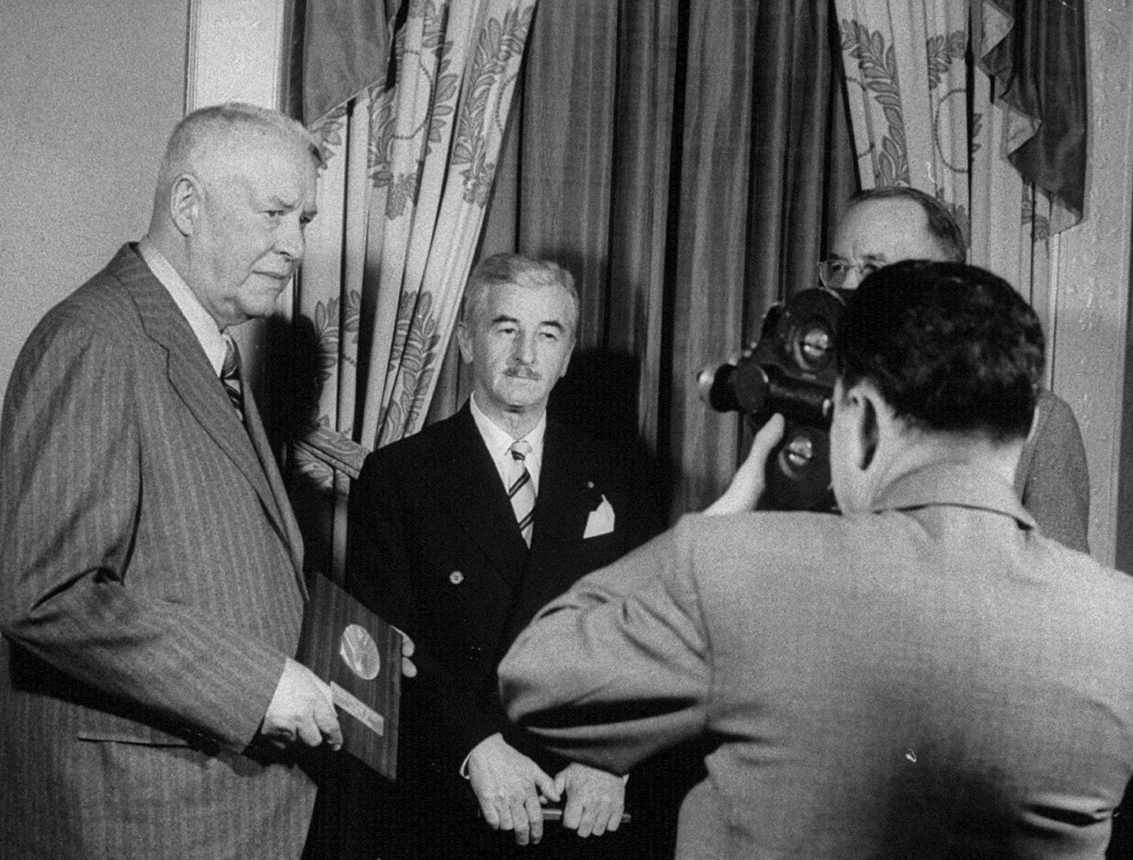 Wallace Stevens and William Faulkner receiving National Book Awards, 1955